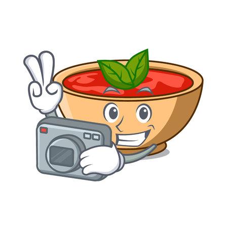 Photographer tomato soup character cartoon vector illustration