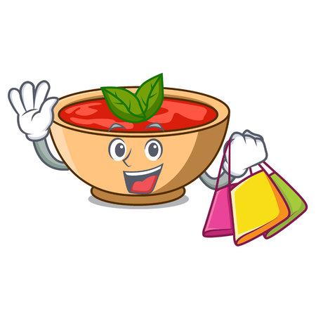 Shopping tomato soup character cartoon vector illustration Illustration