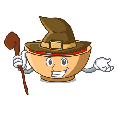 Witch tomato soup character cartoon vector illustration Illustration
