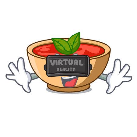 Virtual reality tomato soup character cartoon vector illustration