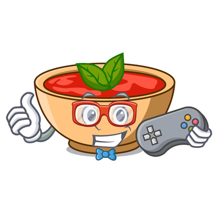 Gamer tomato soup character cartoon vector illustration