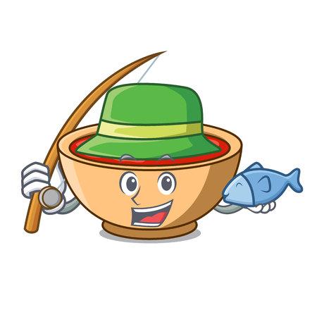 Fishing tomato soup character cartoon vector illustration