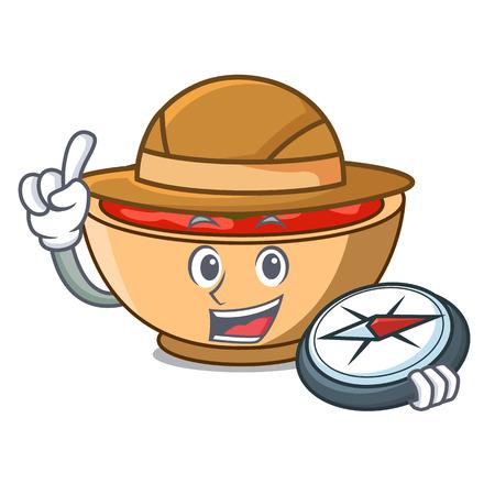 Explorer tomato soup character cartoon vector illustration Illustration