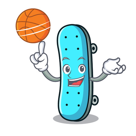 With basketball skateboard character cartoon style vector illustration