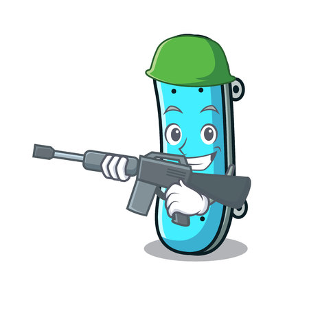 Army skateboard character cartoon style vector illustration