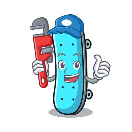 Plumber skateboard mascot cartoon style vector illustration