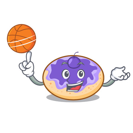 With basketball donut blueberry character cartoon vector illustration