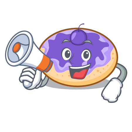 With megaphone donut blueberry character cartoon vector illustration Vectores