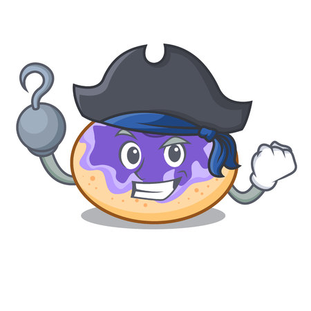 Pirate donut blueberry character cartoon vector illustration