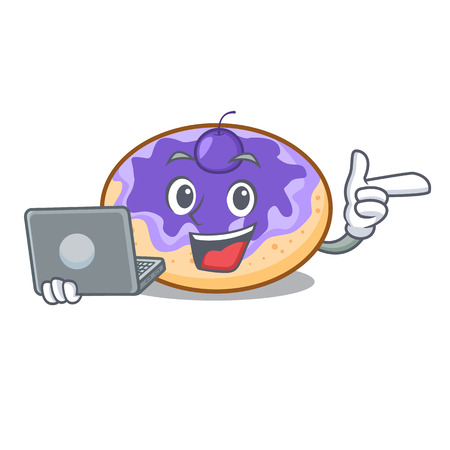 With laptop donut blueberry character cartoon vector illustration