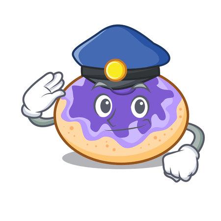 Police donut blueberry character cartoon vector illustration