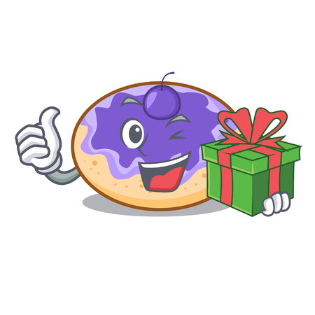 With gift donut blueberry mascot cartoon vector illustration