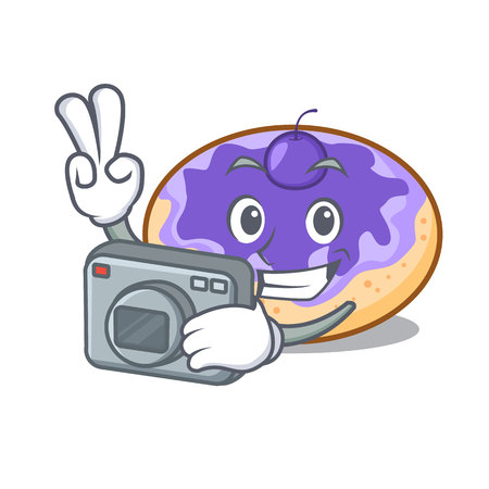 Photographer donut blueberry mascot cartoon vector illustration Illustration