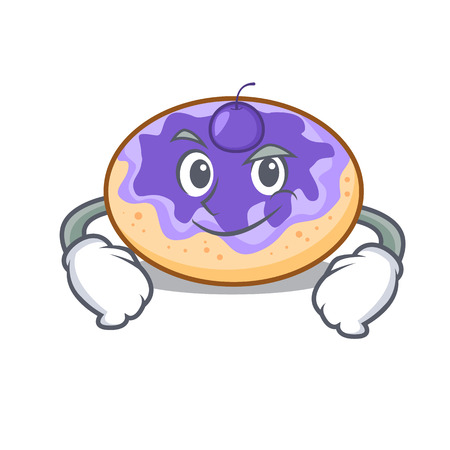 Smirking donut blueberry character cartoon vector illustration