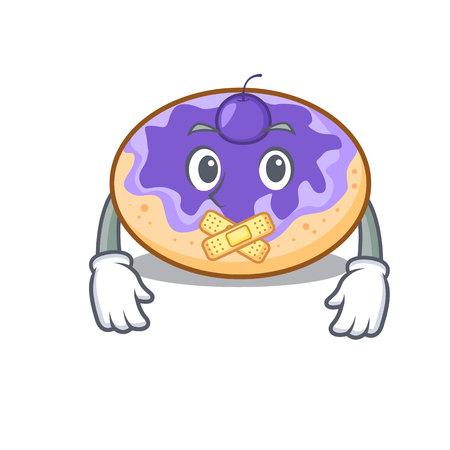 Silent donut blueberry mascot cartoon vector illustration