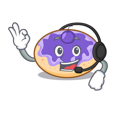 With headphone donut blueberry mascot cartoon vector illustration