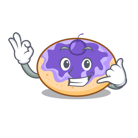 Call me donut blueberry mascot cartoon Illustration