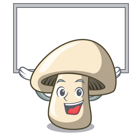 Up board champignon mushroom character cartoon vector illustration