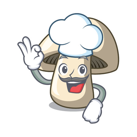 Chef champignon mushroom character cartoon vector illustration