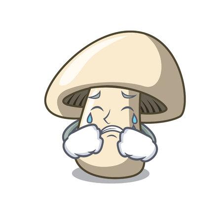 Crying champignon mushroom mascot cartoon vector illustration