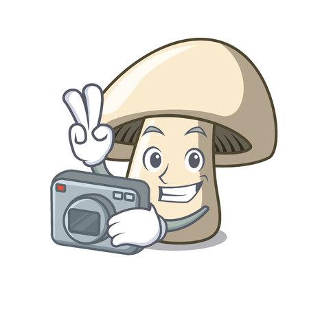 Photographer champignon mushroom mascot cartoon vector illustration Illustration