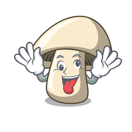 Crazy champignon mushroom mascot cartoon vector illustration Illustration