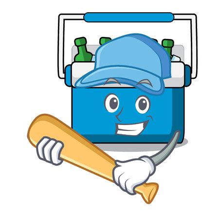 Playing baseball freezer bag character cartoon vector illustration Иллюстрация