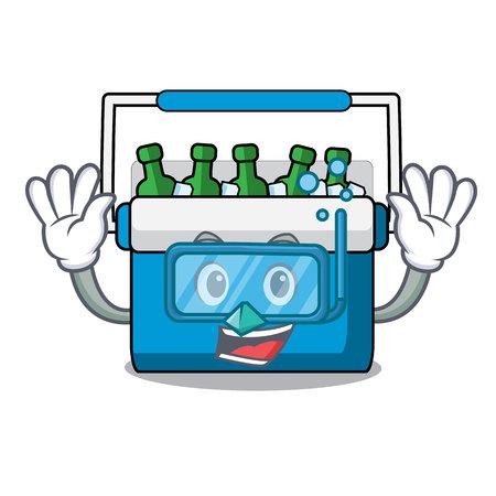 Diving freezer bag character cartoon vector illustration