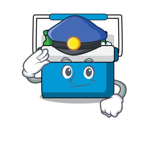 Police freezer bag character cartoon vector illustration