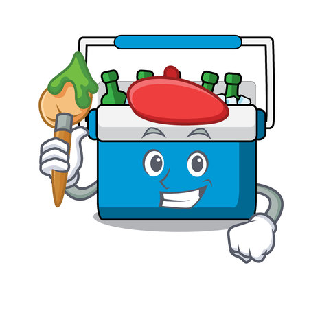 Artist freezer bag character cartoon vector illustration