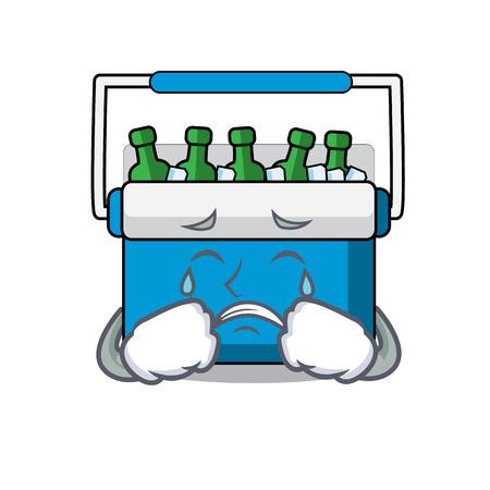 Crying freezer bag mascot cartoon vector illustration