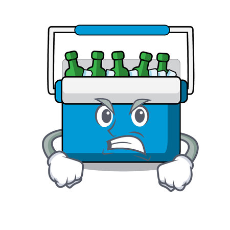 Angry freezer bag mascot cartoon vector illustration