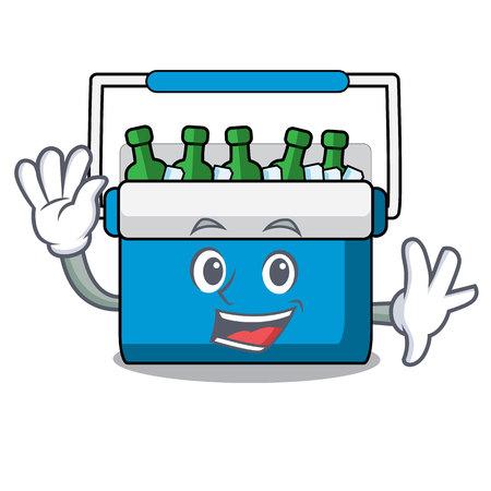 Waving freezer bag character cartoon vector illustration
