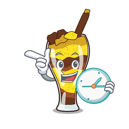 With clock mangonada fruit character cartoon vector illustration