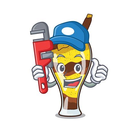 Illustration vectorielle de plombier mangonada fruit mascotte dessin animé