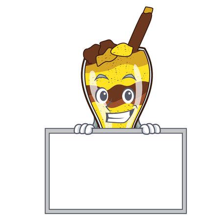 Grinning with board mangonada fruit character cartoon vector illustration
