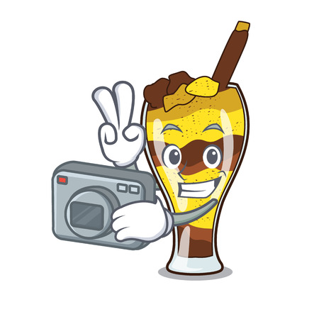 Photographer mangonada fruit mascot cartoon vector illustration  イラスト・ベクター素材