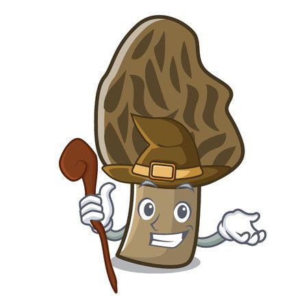 Witch morel mushroom mascot cartoon vector illustration