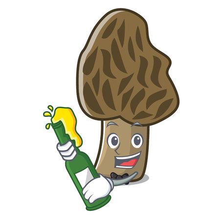 With beer morel mushroom mascot cartoon vector illustration