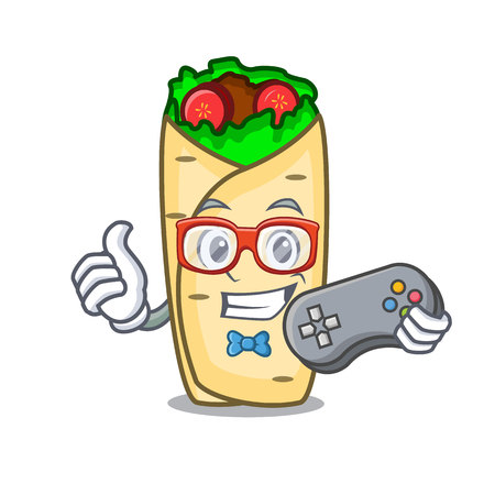 Gamer burrito mascot cartoon style vector illustration