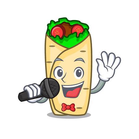 Singing burrito mascot cartoon style