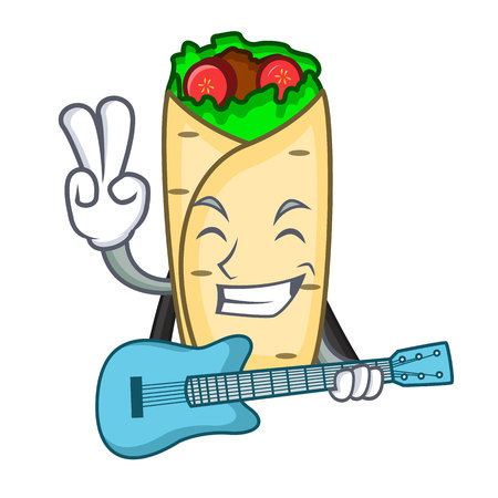 With guitar burrito mascot cartoon style vector illustration