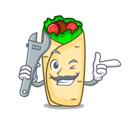 Mechanic burrito mascot cartoon style vector illustration