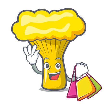 Shopping chanterelle mushroom character cartoon vector illustration Çizim