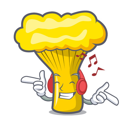 Listening music chanterelle mushroom mascot cartoon vector illustration Çizim