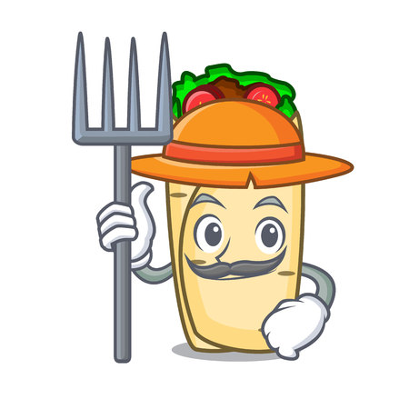 Farmer burrito character cartoon style vector illustration Vectores