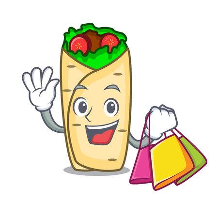 Shopping burrito character cartoon style vector illustration Illustration