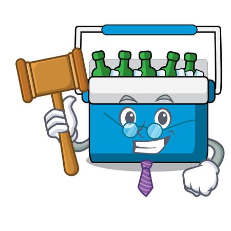 Judge freezer bag mascot cartoon vector illustration