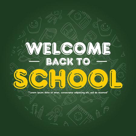 Back to school design greeting card vector illustration Vettoriali