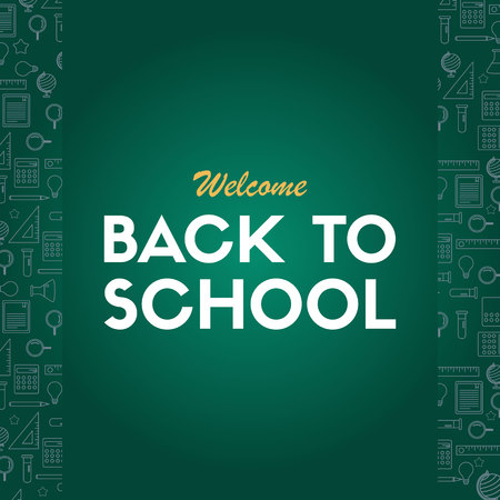 Back to school poster welcome education vector illustration Vettoriali